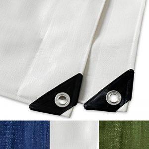 Bache impermeable etm® avec oeillet | protection extérieur | résistant à l'eau et aux UV | haute densité 180g/m² | blanc - env. 3x5m de la marque etm image 0 produit