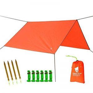 GEERTOP Étanche Bâche de Tente Légère Poratble Impermeable Anti-pluie pour Camping Randonnee Pique-nique Abri - 300 x 220 cm avec Cordes et Piquets (Orange) de la marque GEERTOP image 0 produit