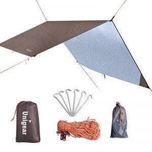 Hamac Rain Fly Tente Bâche 3m x 3m, étanche coupe-vent anti-neige Camping Abri, portable, léger Basha Pare-soleil pour Snow Camping en plein air Voyage de la marque Unigear image 0 produit