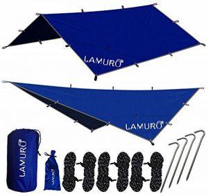 LAMURO Bâche Anti-Pluie Imperméable | Couverture de hamac ou double toit de tente en nylon ripstop | Abri de survie tous temps pour l'extérieur | Équipement de camping et randonnée de la marque LAMURO image 0 produit