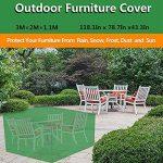MOVEONSTEP Couverture de meubles de jardin en plein air Rectangulaire imperméable Patio couvre avec œillets d'angle et corde de sécurité incluse 3m x2m x1.1m (9.8ft x 6.6ft x3.6ft) -Vert foncé de la marque MOVEONSTEP image 2 produit
