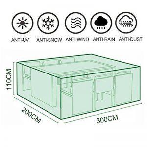 MOVEONSTEP Couverture de meubles de jardin en plein air Rectangulaire imperméable Patio couvre avec œillets d'angle et corde de sécurité incluse 3m x2m x1.1m (9.8ft x 6.6ft x3.6ft) -Vert foncé de la marque MOVEONSTEP image 0 produit