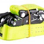 NiNeKa Lot de Lot de 2sangles à cliquet en 2parties, noir haute qualité à cliquet, longue durée, 4m ou 6m Jaune fluo, jaune de la marque Sandax image 4 produit